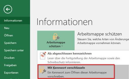 Excel-Datei mit Passwort sichern