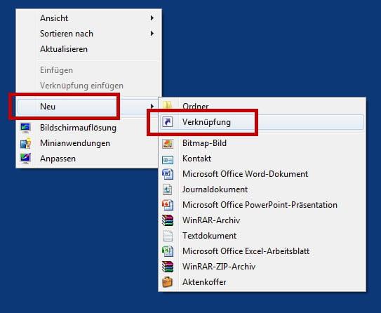 Website Verknüpfung Desktop