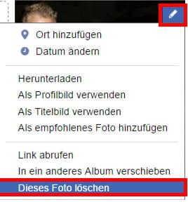 fotos in facebook löschen