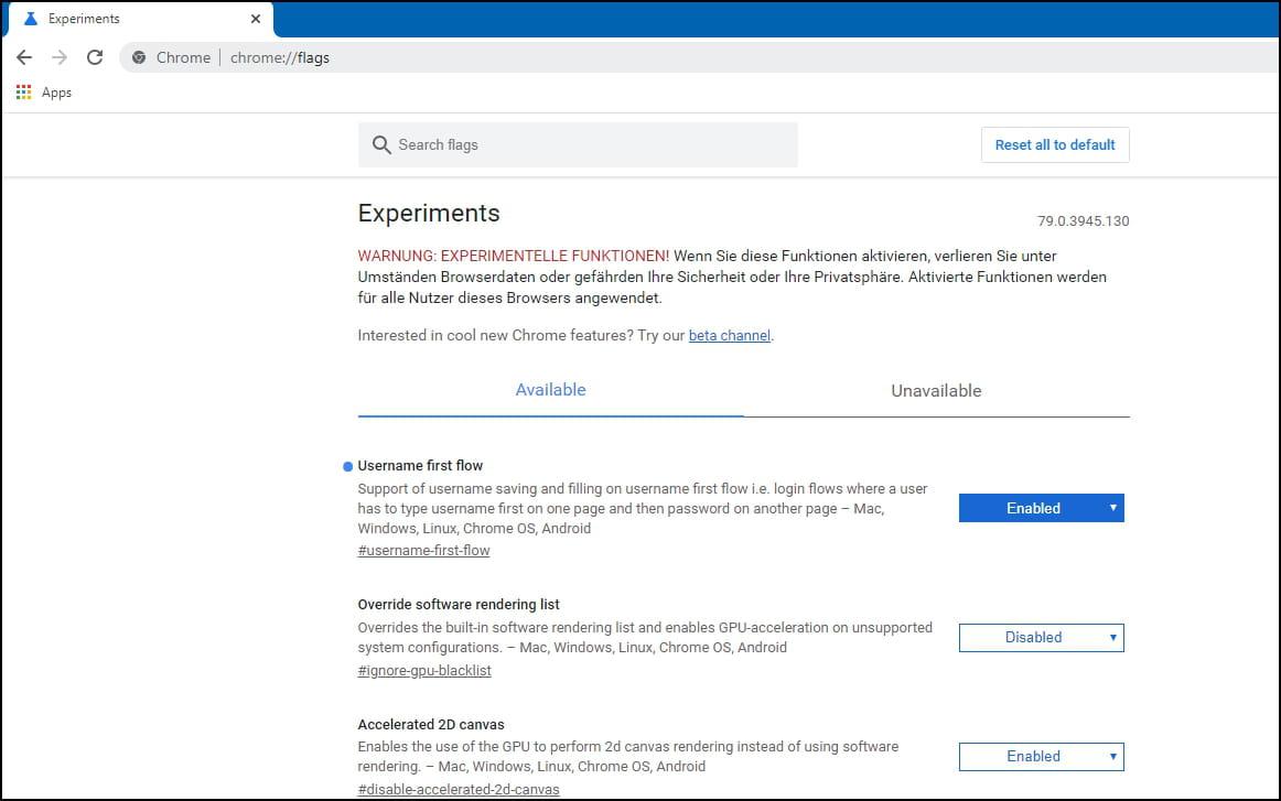 Google Chrome Flags Browser mit versteckten Einstellungen ...
